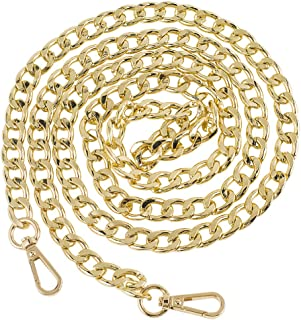 """Symuitrc 10MM Width Iron Flat Chain Strap Handbags Replacement Chains for Wallet Clutch Satchel Tote Bag Length 51"""" Purse Chain Shoulder Crossbody Bags Gold Plated Hardware Chain"""