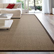 iCustomRug Zara Synthetic Sisal Collection Area Rug and Custom Size Runners, Softer Than Natural Sisal Rug, Stain Resistant & Easy to Clean Beautiful Border Rug in Chocolate 6' x 8'