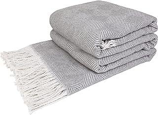 LoveYouHome Parallèles Coton Plaid-Couverture Doux Extra Large (140 cm X 200 cm - Blanc-Gris)