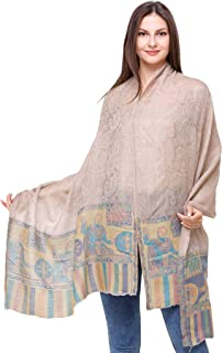 Exotic India Shawl from Amritsar with Paisleys Woven in Self and Lady with Charkha on Border