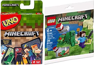 LEGO Launch Block Minecraft TNT Steve & Creeper Mini-Figure Set 30393 Bundled with Matching Adventure Go Card Game Special Uno Rule 2-Items Mine & Dig in