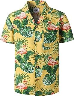 03592cc1 JOGAL Mens Hawaiian Shirt Short Sleeve Flamingo Flower Palms Aloha Shirt  STAG Beach Holiday Casual