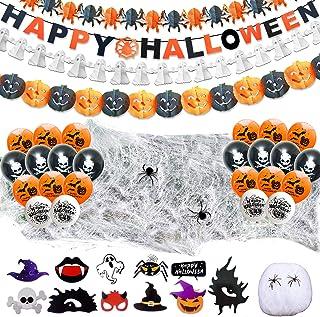 LISOPO 48pcs Decoration Halloween XXL Ensemble Deco Halloween - Ballons,Banderole Bannière Guirlande des Citrouilles des f...
