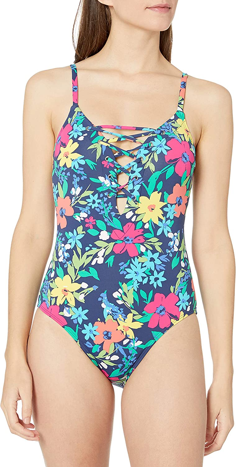 NWT-Nautica Lace-Up Plunge Solid One-Piece Swimsuit-Sizes LARGE OR XL-Retail $98