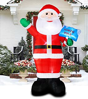 PARAYOYO 10 Ft Christmas Inflatable Santa Claus Decoration LED Lights Inflatable Xmas Santa Decorations for Home Yard Lawn Outdoor Indoor Night