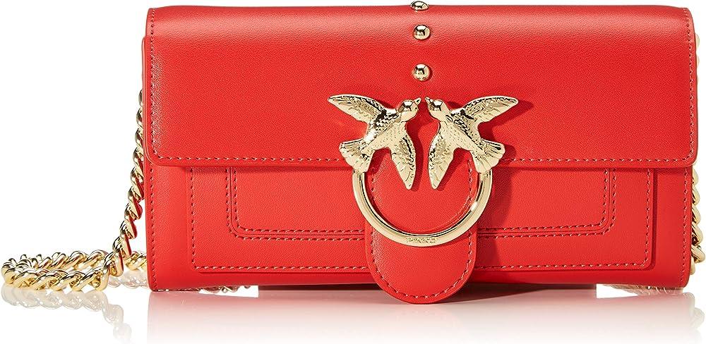 Pinko love wallet, portafoglio,pochette da donna, porta carte di credito in pelle 1P21KV