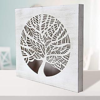 -Mandala de Pared Calada, Fabricada artesanalmente en España- Mandala 3D Cuadrada Pintada a Mano- Modelo Mosaico 214 (Blan...