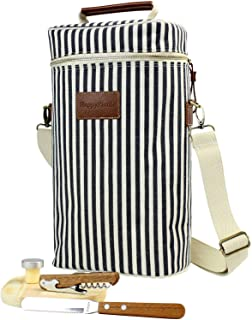 Insulated Wine Carrier Tote Bag, 2 Bottle Travel Beverages Cooler Bag for Cheese Carrying with Free Picnic Set - Corkscrew, Bottle Stopper, Wooden Cheese Board and Knife