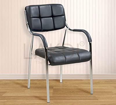LAKDI Visitor Chair Black Cushioned with Chrome Metal Frame