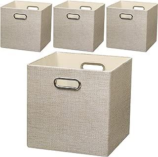 Posprica Collapsible Storage Cubes,11×11 Heavy Duty Fabric Stroage Bins,4pcs, Beige