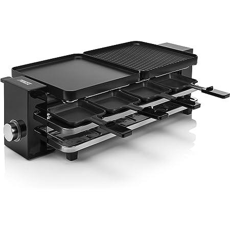 Princess Appareil à raclette Multifonction Piano 8 Noir-8 Personnes-1 200 W, Plastique sans BPA