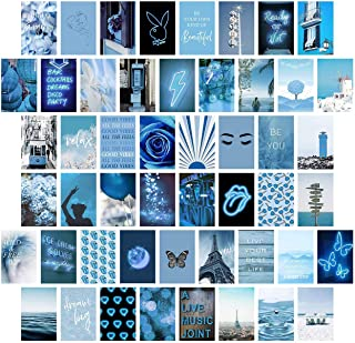 Blue Wall Collage Kit Aesthetic Pictures, Bedroom Decor for Teen Girls, Wall Collage Kit, Collage Kit for Wall Aesthetic, VSCO Girls Bedroom Decor, Aesthetic Posters, Collage Kit (50 Set 4x6 inch)