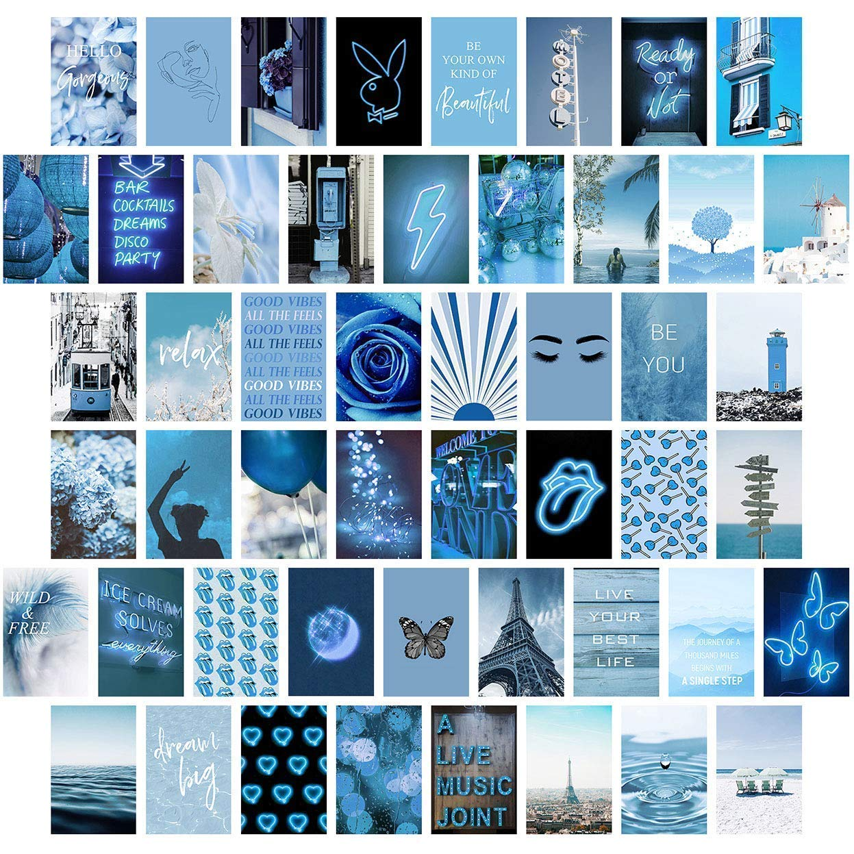Blue Wall Collage Kit Aesthetic Pictures, Bedroom Decor for Teen Girls, Wall Collage Kit, Collage Kit for Wall Aesthetic, VSCO Girls Bedroom Decor, Aesthetic Posters, Collage Kit (50 PCS 4x6 inch)