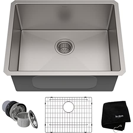 Kraus Pax 24 Inch 18 Gauge Undermount Single Bowl Stainless Steel Laundry And Utility Sink Khu24l Amazon Com