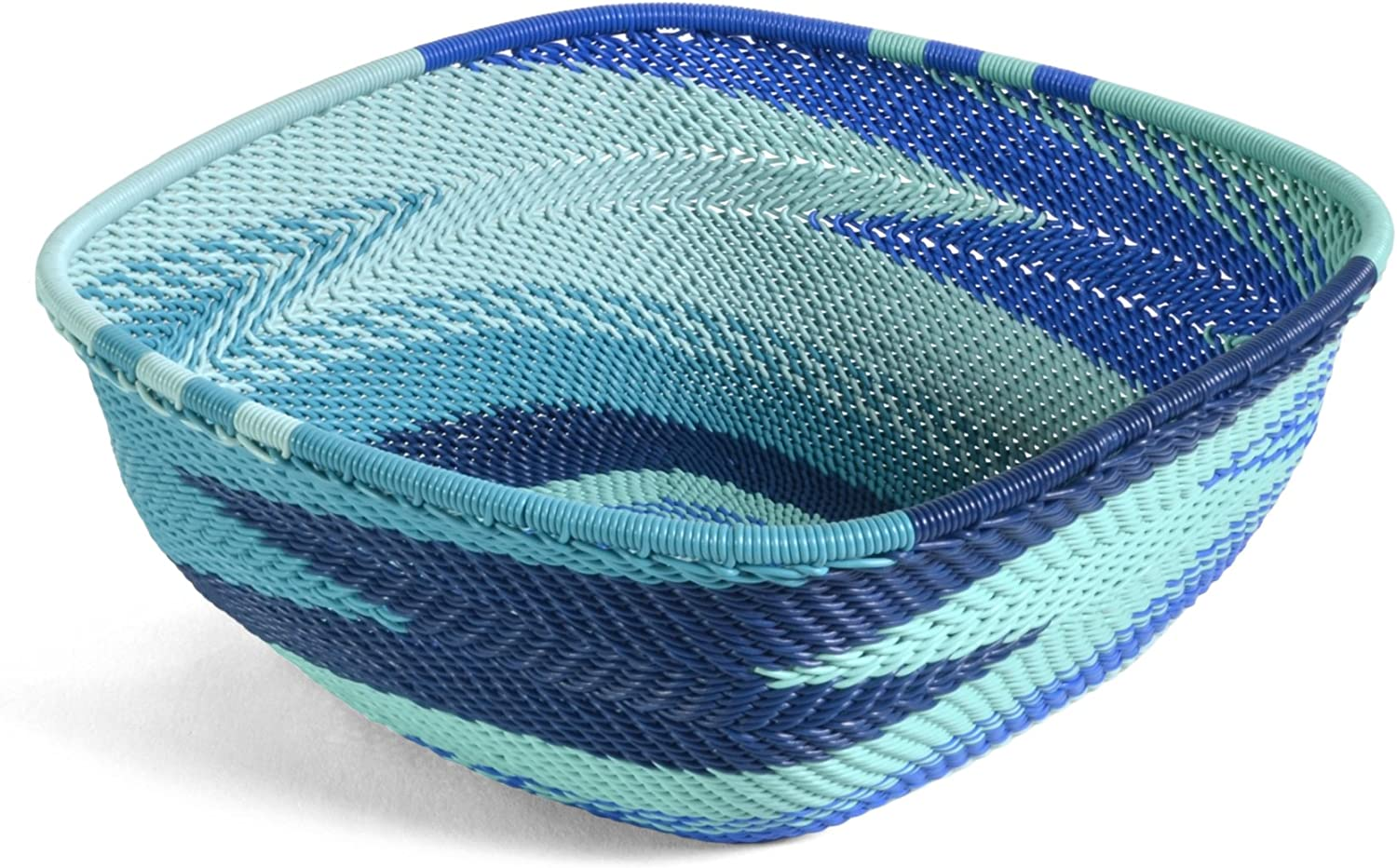 Fair Trade Zulu Telephone Wire 6.25  Square Bowl, African Ocean