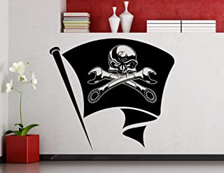 Pirate Flag Wrench Spanner Wall Decal Car Workshop Sticker Home Art Interior Decoration Any Room Mural Waterproof Vinyl Sticker (25xx)