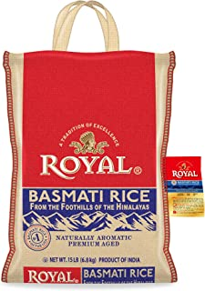 Authentic Royal Royal Basmati Rice, 15-Pound Bag, White