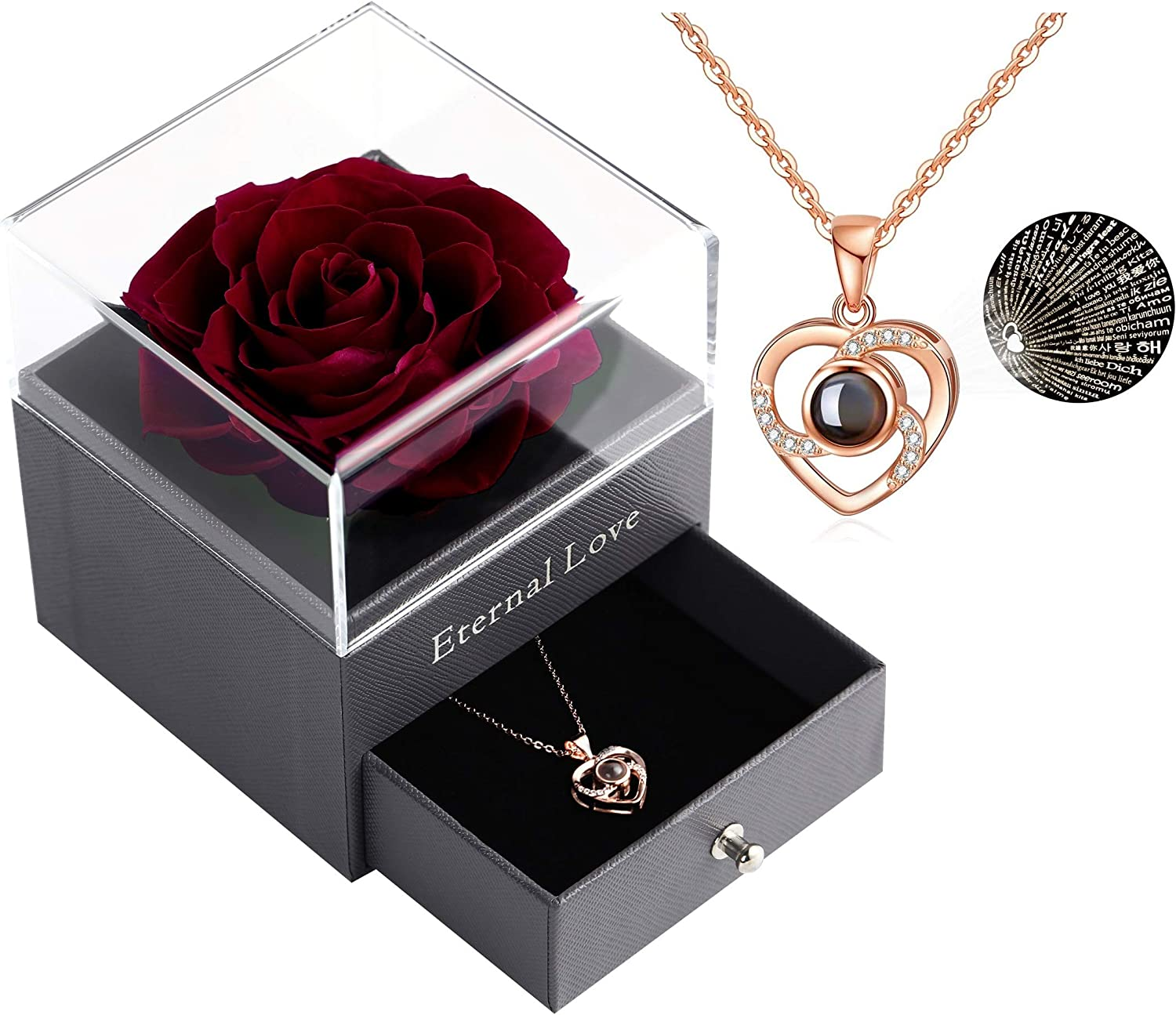 Black Rose Preserved Real Rose with Love You Necklace in 100 Languages Gift Set Enchanted Real Rose Flower for Valentines Day Anniversary Wedding Bthday Romantic Gifts for her