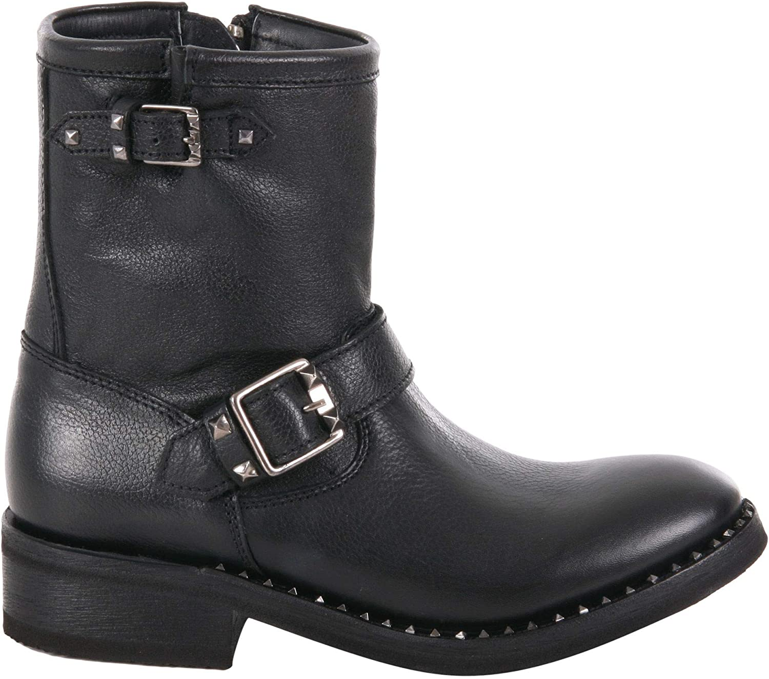Ash Women's SOHO002 Black Leather Ankle Boots