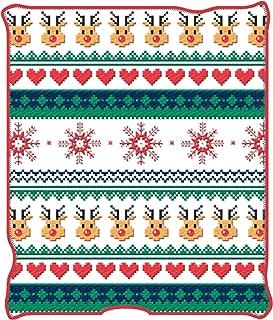 Silver Buffalo Ugly Christmas NL6027 Ugly Christmas Deer and Hearts Plush Throw Blanket, 50 x 60 inches