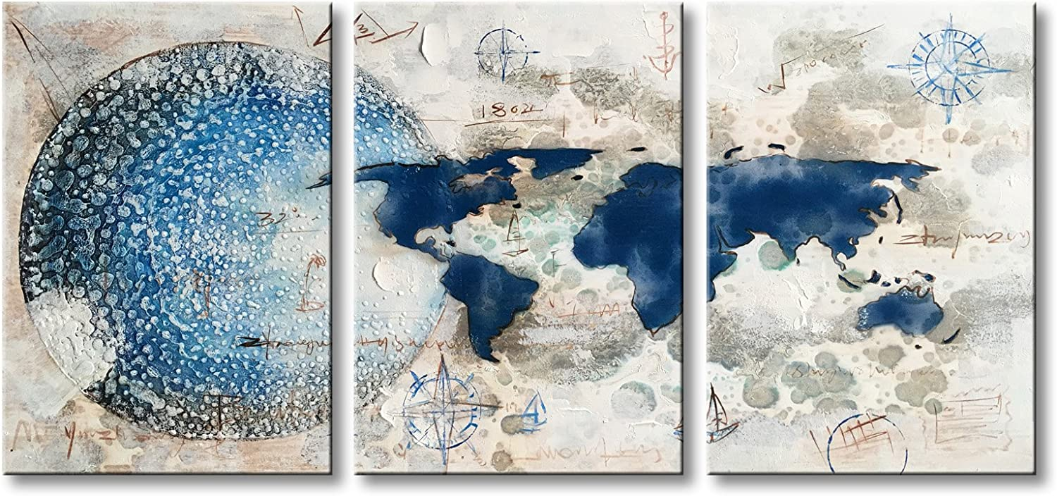 Everfun Hand Painted Canvas Painting World Map Decor Modern 3 Piece Wall Art bluee and White Abstract Gallery Artwork Framed Ready to Hang