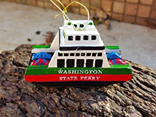 NS Seattle Washington Christmas Ornament Ferry With Cars Poly