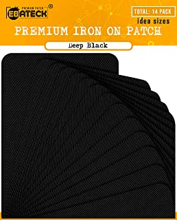 Iron On Patches Black Denim for Clothes - Fabric Repair Patch kit for Clothing Pants Jeans - Large Size for Men, Woman, Girls, Kids - Super Strong (Upgrade Adhesive 0.12) with 14 Pack