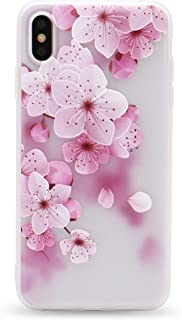 IMIFUN 3D Relief Flower Silicon Phone Case for iPhone Xs Max XR XS Rose Floral iPhone Cases Soft TPU Cover(5619, XS)