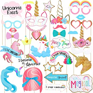 Amosfun 30pcs Unicorn Photo Booth Props Funny Glitter Rainbow Unicorn Pegasus Photo Props for Unicorn Baby Shower Birthday Party Decoration Favors Supplies