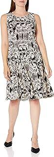 فستان حريمي من Sandra Darren من قطعة واحدة بدون أكمام مطبوع عليه Ity Puff Fit & Flare