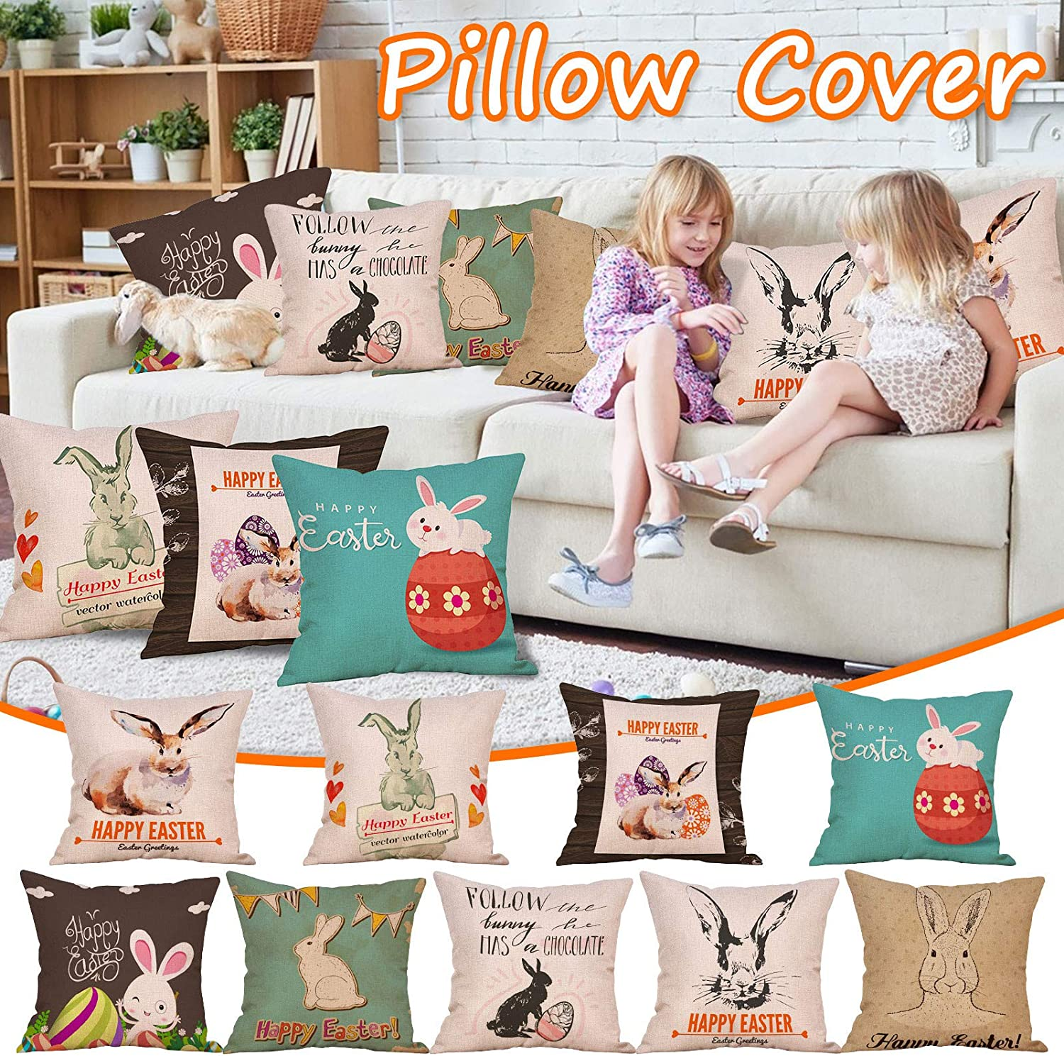 Sayhi Emotion Spring Easter 5 ☆ very popular Pillow Bunny Covers Square Eg Wreath Dealing full price reduction