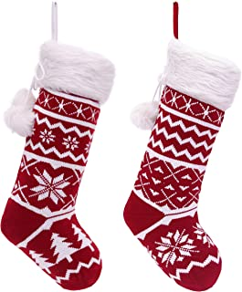 Valery Madelyn 21 inch 2 Pack Traditional Red White Knit Christmas Stockings with Snowflakes and Faux Fur Cuff, Themed with Tree Skirt (Not Included)