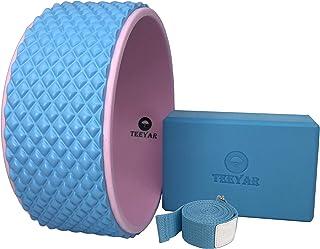 Yoga Wheel(Yoga Ring/Yoga Circle)&Yoga Block Strap Set - Strongest Yoga Wheel 32x13cm + Yoga Block(High Density) and Strap...