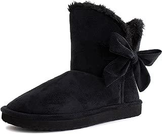 Mini Womens Flat Ribbon Winter Fur Ankle Short Fux Suede Boots