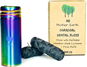 Vegan Biodegradable Bamboo Charcoal Dental Floss with Refillable Stainless Steel Rainbow Container | Extra Floss Refill | Natural Candelilla Wax | 33yds x2 | Peppermint | Eco Zero Waste Oral Care