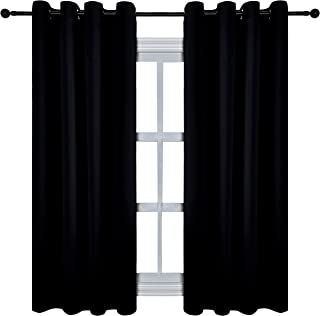 KEQIAOSUOCAI Flame Retardant Blackout Curtains Thermal Insulated Inherent Fire Resistant Room Darkening Drapes for Classroom Hospital 1 Panel Black 60 by 54 Inches Long