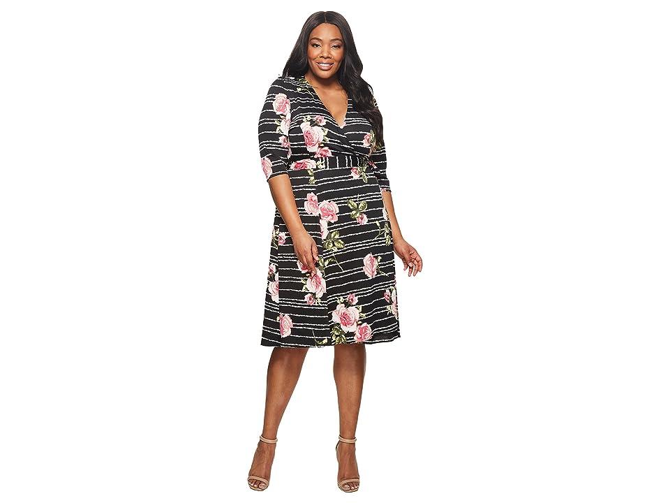 Kiyonna Essential Wrap Dress (Black Rose Stripe) Women