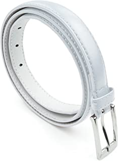 Women Skinny PU Leather Dress Belt Polished Buckle Belle Donne
