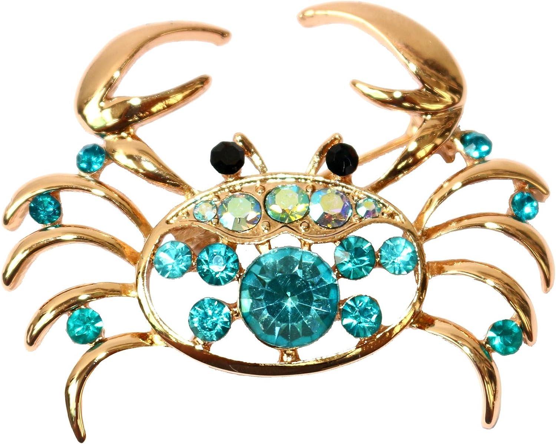Navachi 18k Gold Plated Multi-Color Crystal Sea Crab Brooch Pin