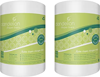 Dandelion Diapers 100% Bamboo Diaper Liner Inserts, Unscented, Biodegradable, Chlorine-Free and Dye-Free, Gentle and Soft ...