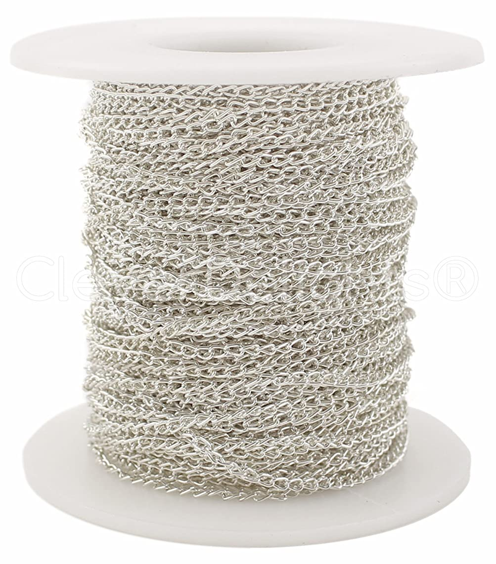 CleverDelights Curb Chain Spool - 2x3mm Link - Shiny Silver Color - 30 Feet - Bulk Jewelry Chain Roll