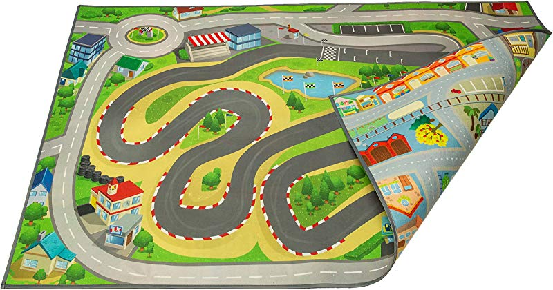 Kids Double Sided Felt Play Mat 2 In 1 Racetrack Town Indoor Outdoor Machine Washable 59 L X 39 W