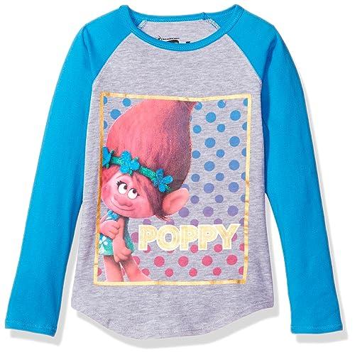 e8d64b566 Trolls Girls' Little Poppy Long-Sleeved Raglan Tee W. Shirttail