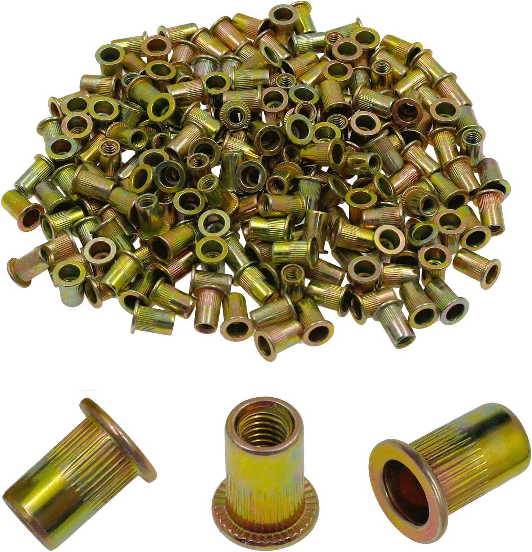 Bonsicoky 200Pcs Metric M3 Rivet Nut Kit Zinc Plated Carbon Steel Flat Head Threaded Insert Knurled Blind Rivet Nuts Fastener for Nuts Through hole