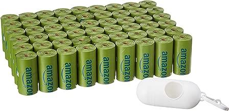 AmazonBasics - Bolsa mejorada para heces de perro con aditivos EPI y dispensador y pinza para correa - 810 unidades, polvo de talco