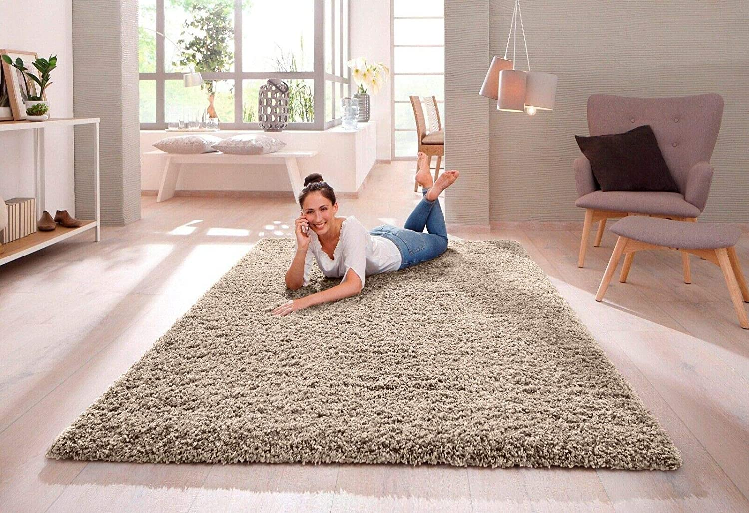 SHAGGY RUG 30MM   3cm Modern Rugs Living Room Extra Large Small Medium Rectangular Size Soft Touch Thick Pile Living Room Area Rugs Non Shedding (Light Beige Mink, 160cm x 230cm (5.5ft x 7.5ft))