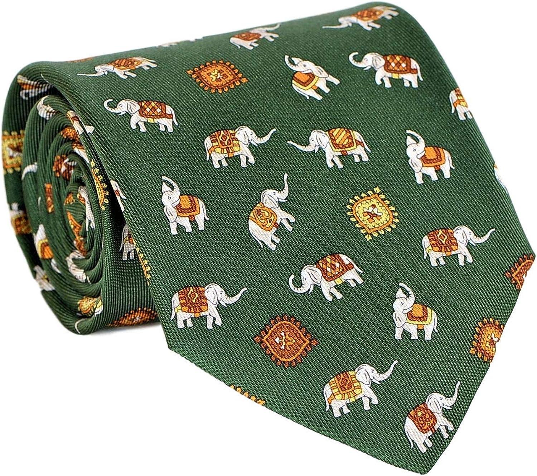 Salvatore Ferragamo Men's Elephat Kansas City Mall Green Silk Max 53% OFF Tie Print