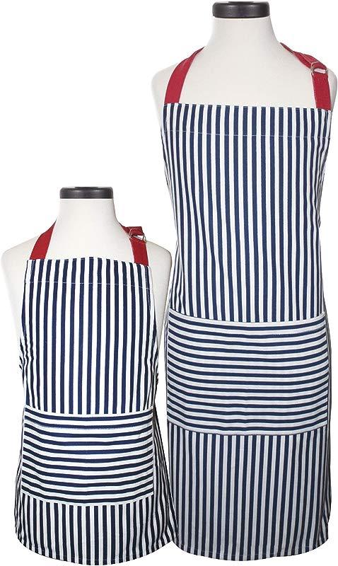 Handstand Kitchen Adult And Child Bold Navy Stripe 100 Cotton Apron Gift Set