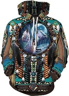 DUOLIFU Unisex Casual 3D Printed Sweatshirts Native American Tribal Feathers Hoodies Plus Size S-5XL