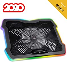 """KLIM Ultimate + RGB Laptop Cooling Pad with LED Rim + Gaming Laptop Cooler + USB Powered Fan + Very Stable and Silent Laptop Stand + Compatible up to 17"""" + for PC Mac PS4 Xbox One + New 2020"""